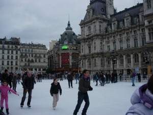 Ice Skating in Paris at Hotel de Ville